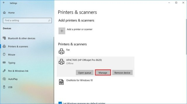 Printers and scanner settings