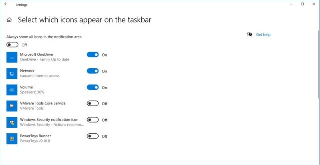 List of icons that can appear on taskbar