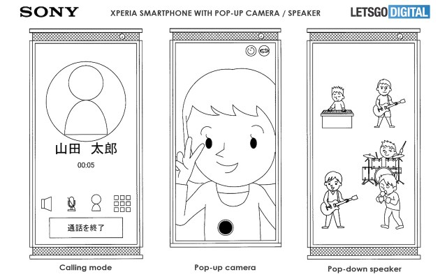 Sony Xperia smartphone with pop-up camera
