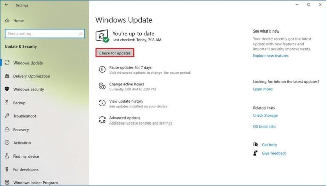 Windows 10 check for updates option