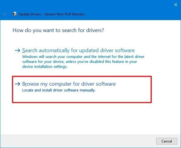 Device Manager select driver files source