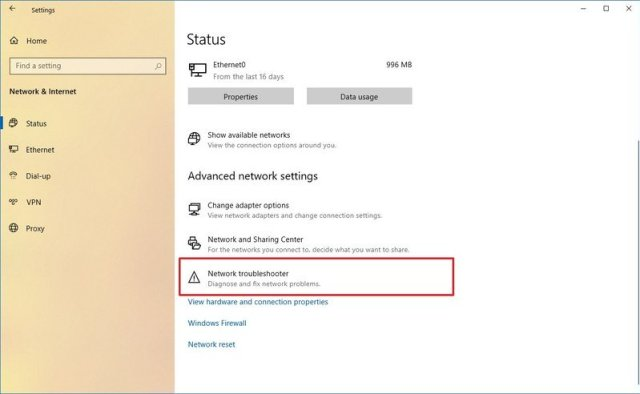 Windows 10 network troubleshooter fix connection version 2004