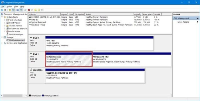 Windows 10 System Reserved partition upgrade fix
