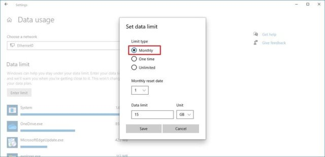 Windows 10 set data limit settings
