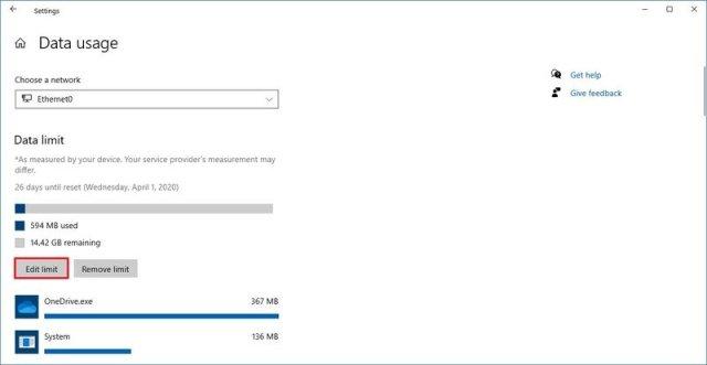 Windows 10 data usage edit limit