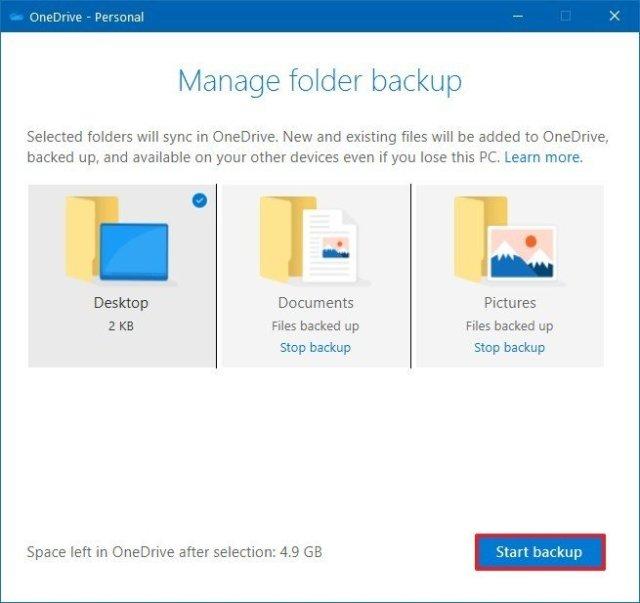 OneDrive manage folder backup option