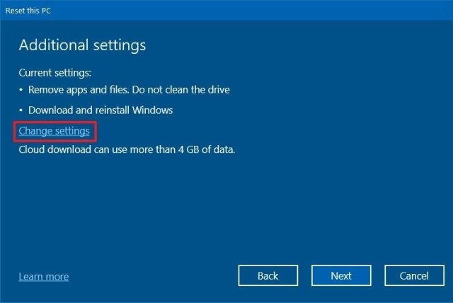 Rest this PC change settings option