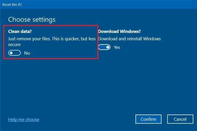 Windows 10 Reset this PC clean drive option