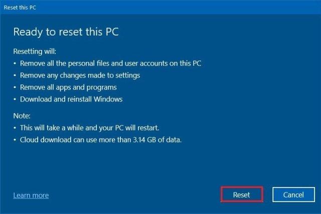 Windows 10 reset removing everything option