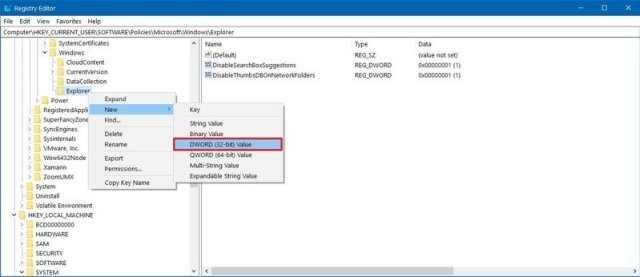 Windows 10 Registry File Explorer key
