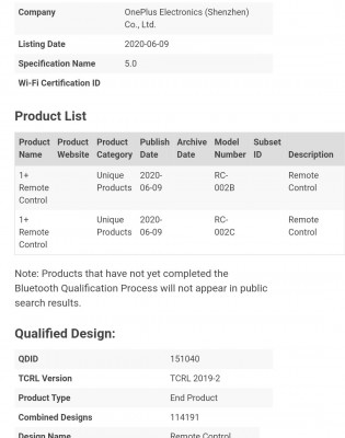Bluetooth certification for OnePlus TV and One Plus Remote Control