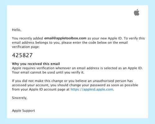 Apple ID verification email