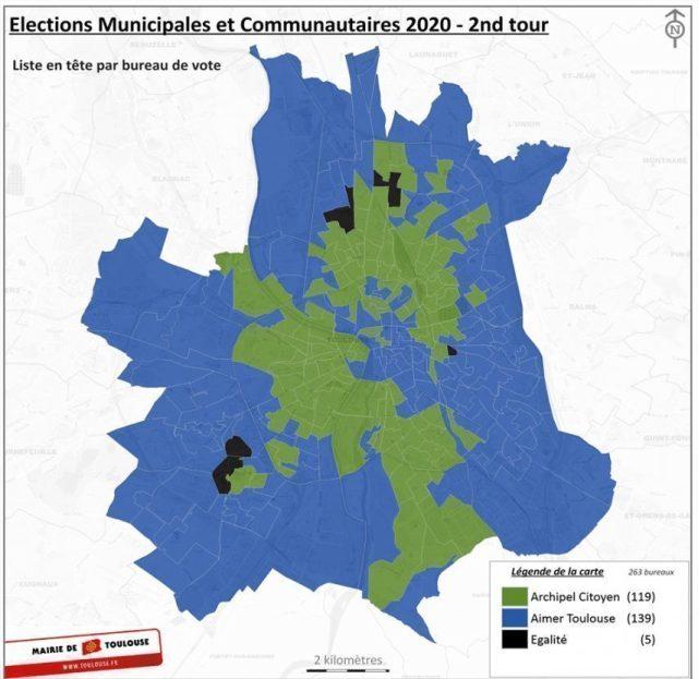 La carte électorale de Toulouse lors du scrutin du deuxième tour à Toulouse. En vert les bureaux de vote où Archipel Citoyen est arrivé en tête, en bleu, ceux où la liste Aimer Toulouse est arrivée en tête.