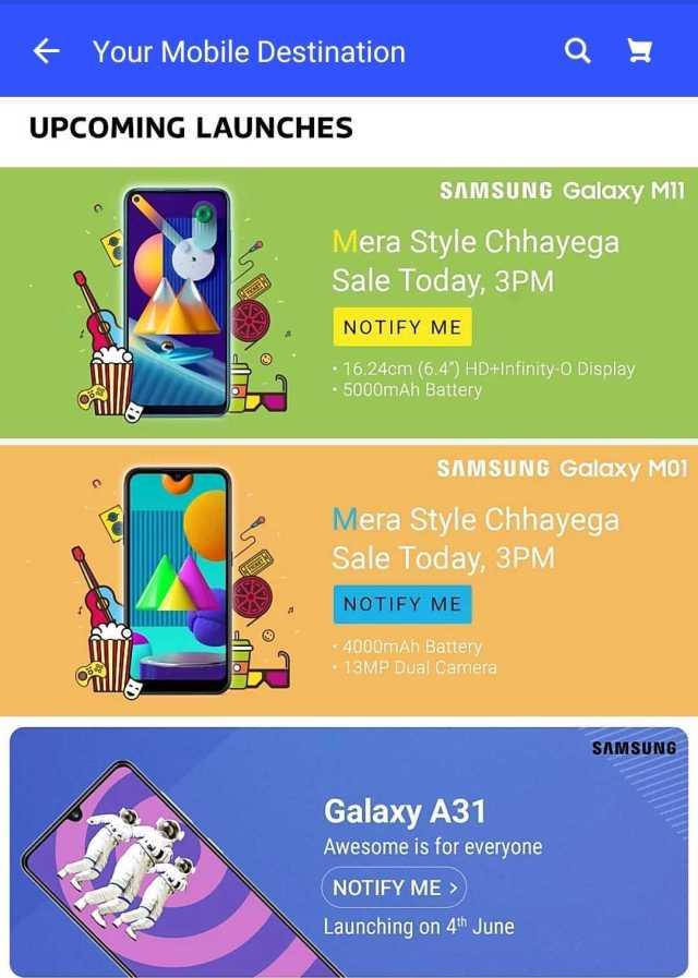 Samsung Galaxy A31, M01, M11 Flipkart India