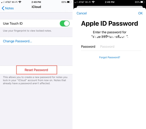 Reset Notes Password-iPhone