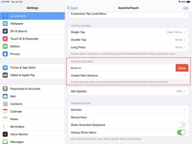 AssistiveTouch Custom Gestures-iPad
