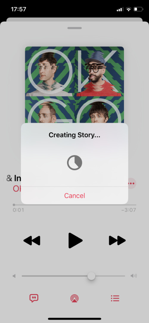 Creating Facebook story from Apple Music