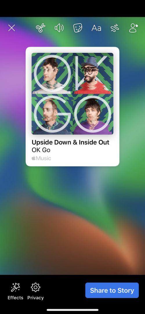 Facebook story created by Apple Music
