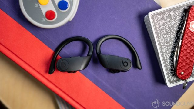 Shot of the Beats Powerbeats Pro true wireless earbuds which use a different earhook design from the Jabra Elite Active 75t.
