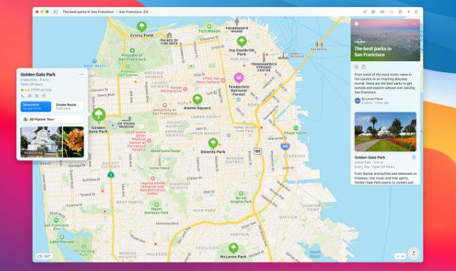 Apple Maps app in macOS Big Sur