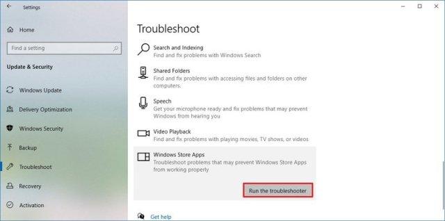 Troubleshoot settings Windows Store Apps option
