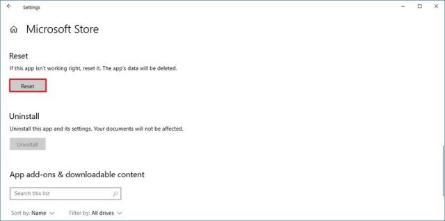 Microsoft Store app reset option