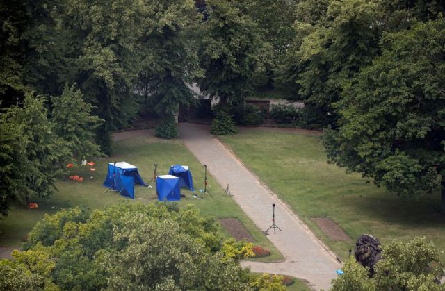 A general view shows a scene at Forbury Gardens, near where multiple stabbings took place, in Reading, Britain, June 21, 2020. REUTERS/Peter Nicholls