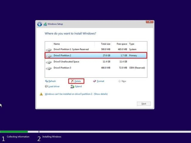 Windows 10 delete partition option