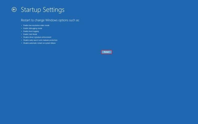 Advanced start up restore option