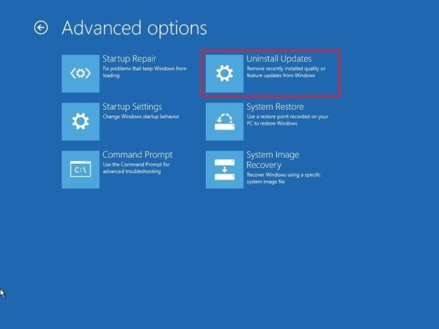 Advanced Startup Uninstall Updates on Windows 10