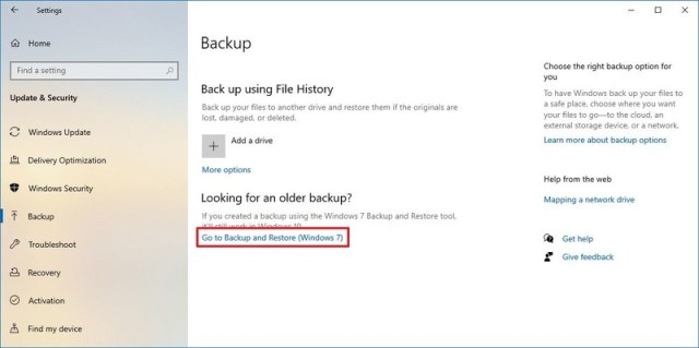 Settings app backup and restore option