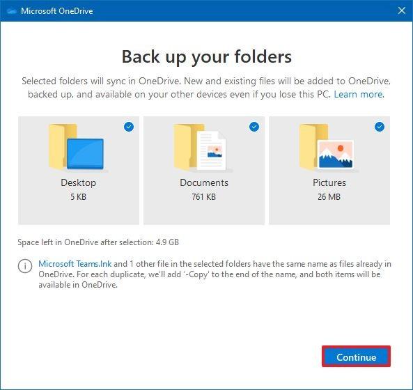 OneDrive folders backup