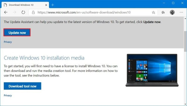 Windows 1 Update Assistant download option