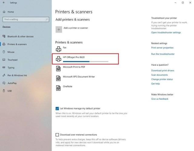 Install USB printer on Windows 10