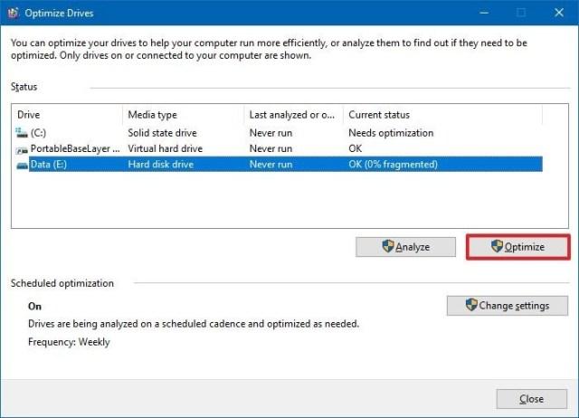 Windows 10 disk defragmentation tool