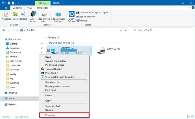 File Explorer hard drive properties option