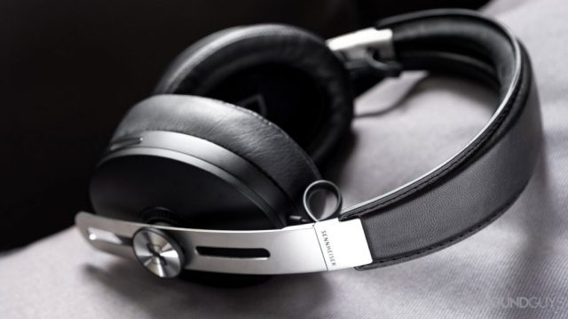 A picture of the Sennheiser Momentum Wireless 3 Bluetooth headphonesin black, focused on the headband stitching.