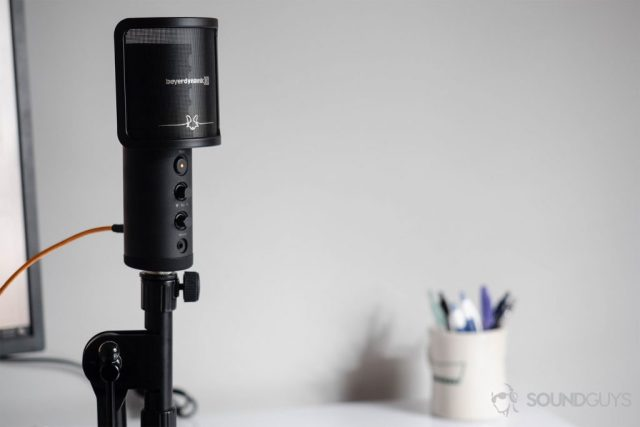 Beyerdynamic Fox USB microphone: The microphone resting on a mic stand via the included adapter.