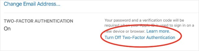 Turn Off Two-Factor Authentication option on Apple ID website