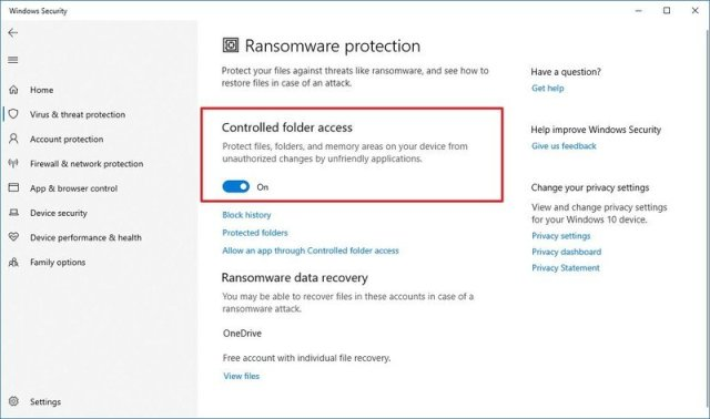 Enable Controlled folder access on Microsoft Defender
