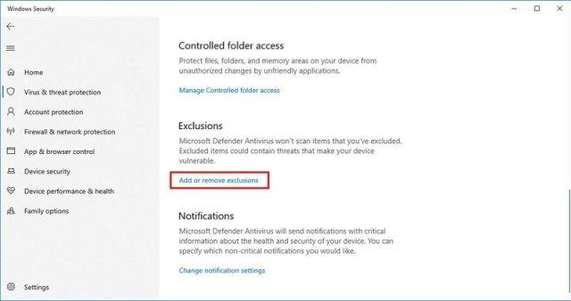 Exclude folder locations on Microsoft Defender Antivirus