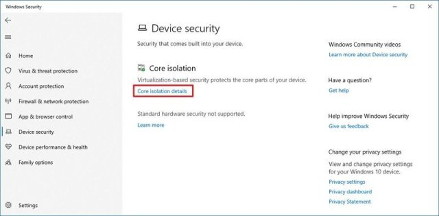 Core Isolation Details on Windows Security