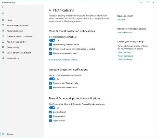 Windows Security notifications settings