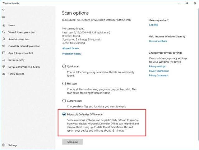 Microsoft Defender Offline Scan Option
