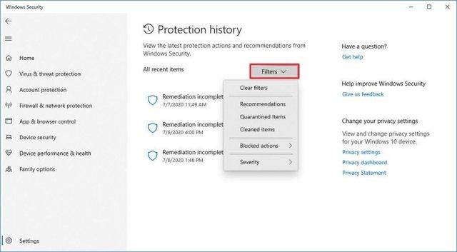 Microsoft Defender protection history