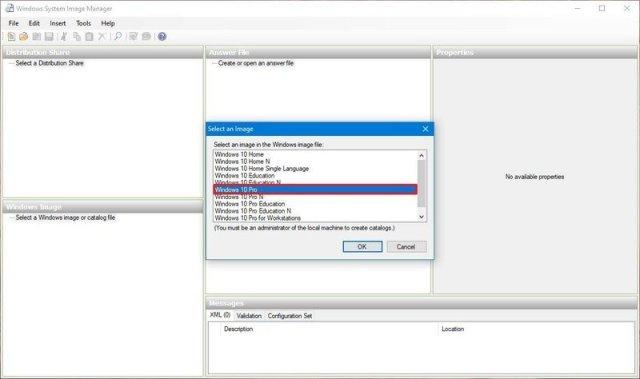Select edition of Windows 10