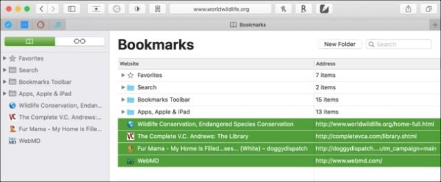 Select bookmarks Safari Mac