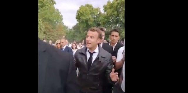 Le moment où Macron se retourne une première fois et dit avoir été élu « démocratiquement »./DR