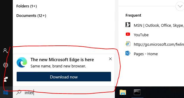 Publicité pour Microsoft Edge dans les résultats de recherche de Windows 10