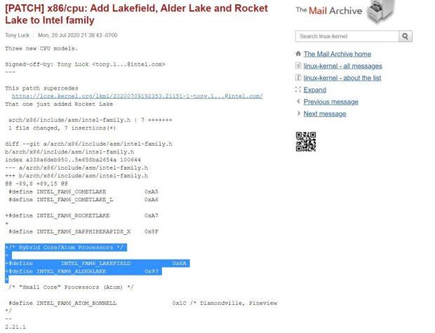 Patch Linux confirmant l'atchitecture Hybrid Core d'Intel